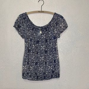 Lucky Brand batik style print peasant blouse